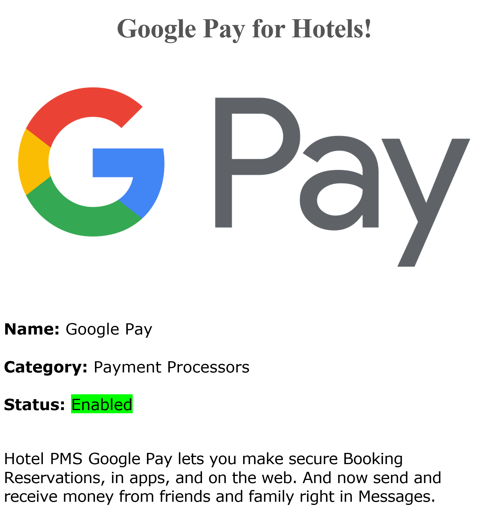 Google Pay Credit Cards Payments Processing | Android Google Pay Credit Cards Payments Processing for hotels and b&b